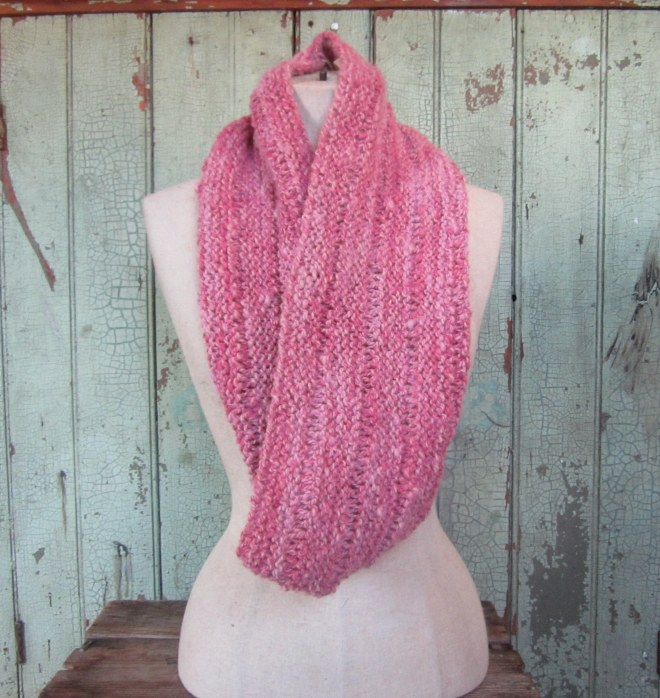 Infinity Scarf -Hand Spun Alpaca Naturally Dyed with Cochineal